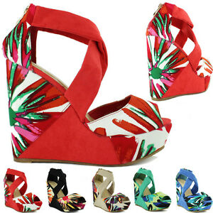 Ladies-Womens-Sexy-High-Heel-Platform-Wedge-Summer-Strappy-Peeptoe-Sandals-Shoes