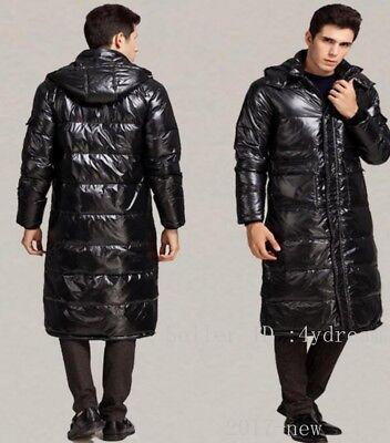 Mens Duck down jacket long puffer Winter warm coat Hooded Full length Parka sz@