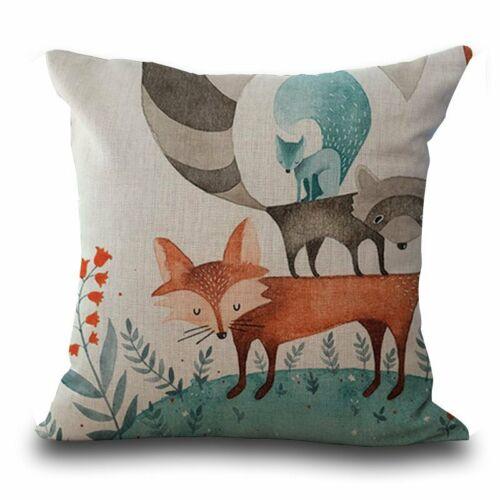 Cartoon Fox en lin Throw Pillow Case Sofa Cushion Cover Home Room Decor