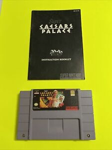 🔥💯 WORKING SUPER NINTENDO SNES GAME CARTRIDGE & BOOK 🔥 SUPER CAESARS PALACE