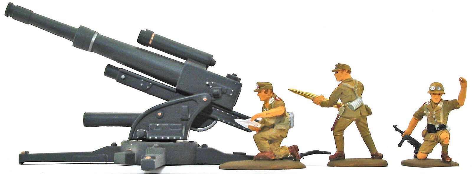 3 HAND MADE WWII Afrika Korps Artillery w  88mm Gun - congreened painted 54mm