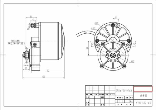 250W Gear Front Mount 24 V DC electric motor f bicycle bike Go-Kart ZY1016z3