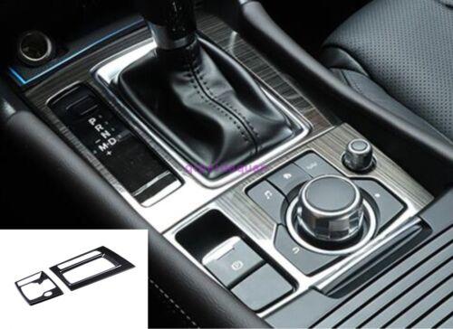 For Mazda 6 M6 Atenza 2017 2018 2PCS Black titanium Inner Gear Shift Frame Trim
