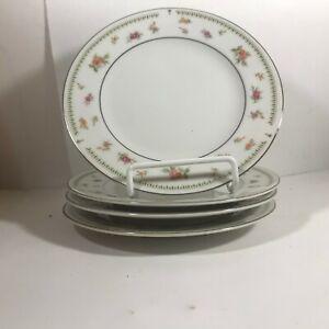 Set-of-4-ABINGDON-Fine-Porcelain-China-Rose-Bread-Plates