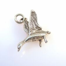 .925 Sterling Silver 3-D FLYING GOOSE CHARM Pendant NEW 925 Geese Bird Duck BI28