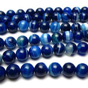 Blau Naturliche Gestreift Achat Stein Edelstein Kunst Lose Perlen 4