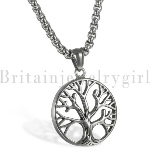 """22/"""" Polish Stainless Steel Tree of Life Round Tag Pendant Necklace for Men Women"""