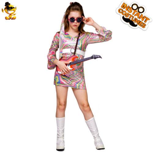 Girls Disco Hippie Dress 60/'s 70/'s Dance Fashion Costume for show