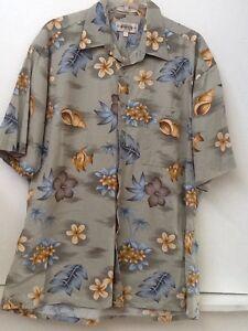 Campia-Moda-Blue-Gold-Green-Shells-Fish-Plumeria-Hawaiian-Shirt-Men-039-s-Large-EUC