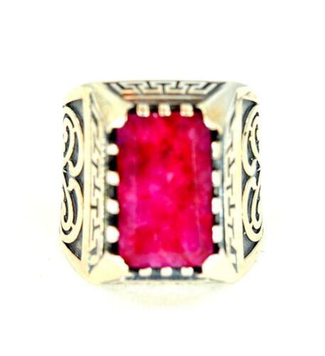 Natural Ruby Juillet Pierre porte-bonheur Style Victorien 925 Argent Sterling Homme Ring #0120