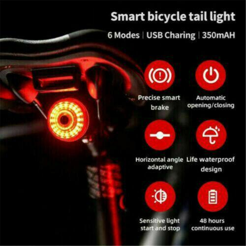 Bicycle Bike Rear Tail Lights Bcak Intelligent Sensor Brake USB Xlite100 MTB CO