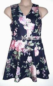 ASOS-Plus-Black-Mini-Skater-Dress-Floral-amp-Chain-Belt-16-24-26-rrp-45