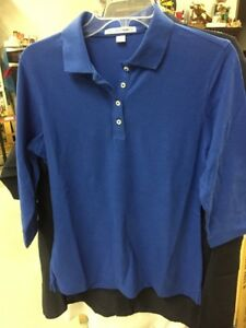 Details About 2 New Port Authority Womens Polo Shirts Ezcotton Cobalt Blue 3 4 Sleeve Two