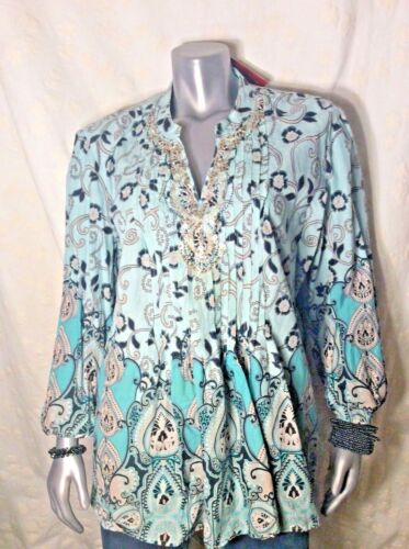 Your amp;turqouise Baby Choice New Beaded size16 Tunic Blue tag Macy's Size 18 W wPqF6FZS