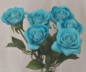 Image Is Loading SILK WEDDING BOUQUET LATEX TURQUOISE BLUE ROSE STEM