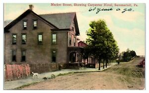 Early-1900s-Market-Street-showing-Carpenter-Hotel-Summerhill-PA-Postcard