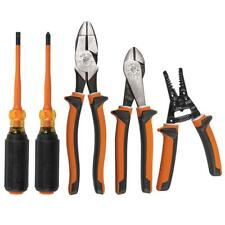 Klein Tools 1000v Insulated Tool Kit Electrical Cutting Pliers Screwdrivers 5 Pc