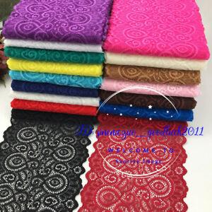 1YD-Flower-Stretch-Lace-Trim-Ribbon-Elastic-fabric-18cm-wide-Sewing-Craft-FL251