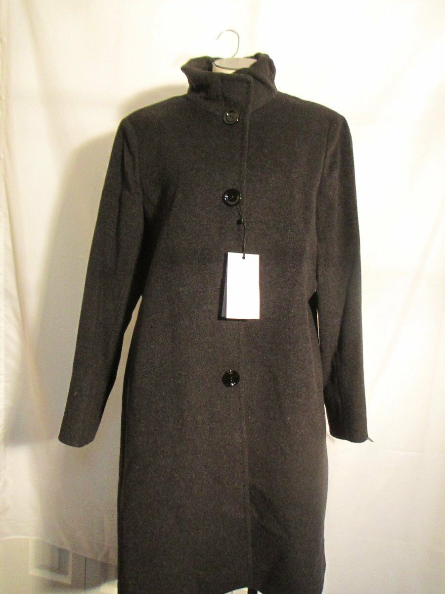 Cinzia Rocca Due Stand Collar Wool Coat 4LR300D3 Charcoal  NWT Authentic