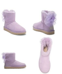 Image is loading UGG-MINI-BAILEY-TULLE-BOW-SUEDE-SHEEPSKIN-LAVENDER-