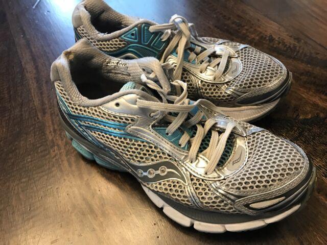Saucony Hurricane 14 Womens Size 7.5 Running Shoes GrayWhiteBlue Good For PF