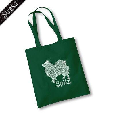Jutebeutel Beutel Einkaufstasche Bag Sac Handtasche Tasche Strass Hund Spitz M1
