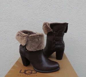 986ba61ed52 Details about UGG JAYNE STOUT LEATHER/ SHEEPSKIN CUFF BUCKLE ANKLE BOOTS,  US 8/ EUR 39 ~NEW