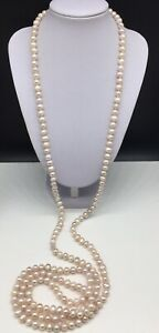 Genuine-Pearl-Beaded-Necklace-Long-Single-Strand-Hand-Knotted-61-Long