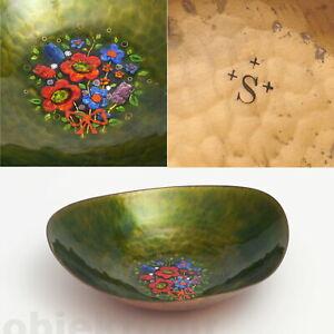 K-Schibensky-Schale-Kupfer-gehaemmert-Emaille-Blumen-Handarbeit-50er-Gepunzt-S