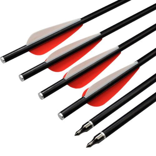 Archery Fiberglass Arrows Crossbow Bolts for Shooting Flat Nock Outdoor 4Size12X