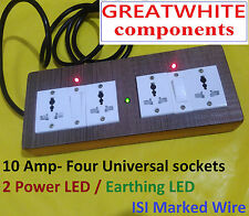 Universal WOODEN extension 4 sockets + 2 Switch , 2 MTR ISI wire, 3 pin top