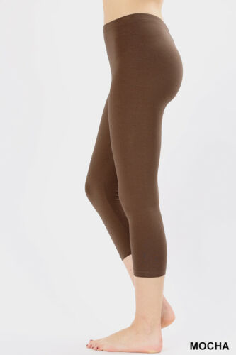 Womens Capri Leggings Cotton 3//4 Cropped High Waist Regular /& Plus Workout Yoga