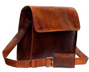 """15/"""" Men/'s Vintage Brown Leather FullFlap Messenger Laptop Satchel Shoulder Bag"""