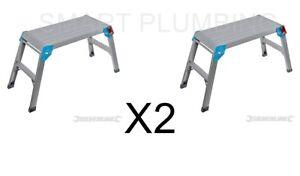 X2-Silverline-Step-up-plateforme-150-kg-Capacite-Fold-Away-Aluminium-anti-glisse