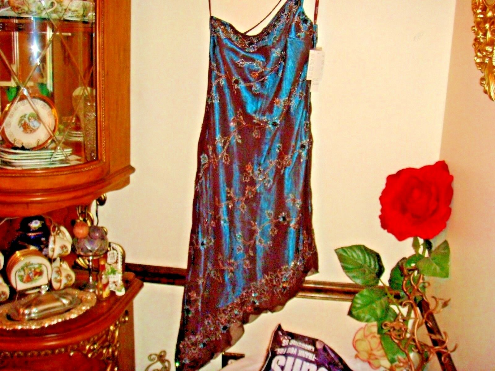 NWT SCALA Beautiful Beaded Sequin Gown Dress Formal Prom Größe Xlarge  braun Teal