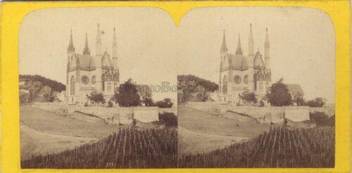 Deutschland Kirche Apollinarisberg Remagen Foto Stereo Vintage Albumin ca 1865