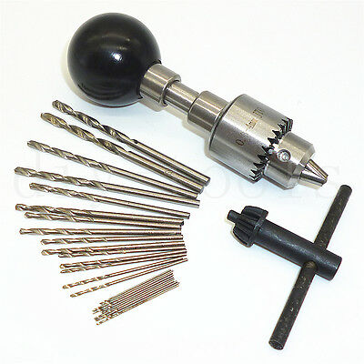 Mini Swivel Head Pin Vise Hand Drill With 25pc HSS Micro Mini Twist Drill Bits