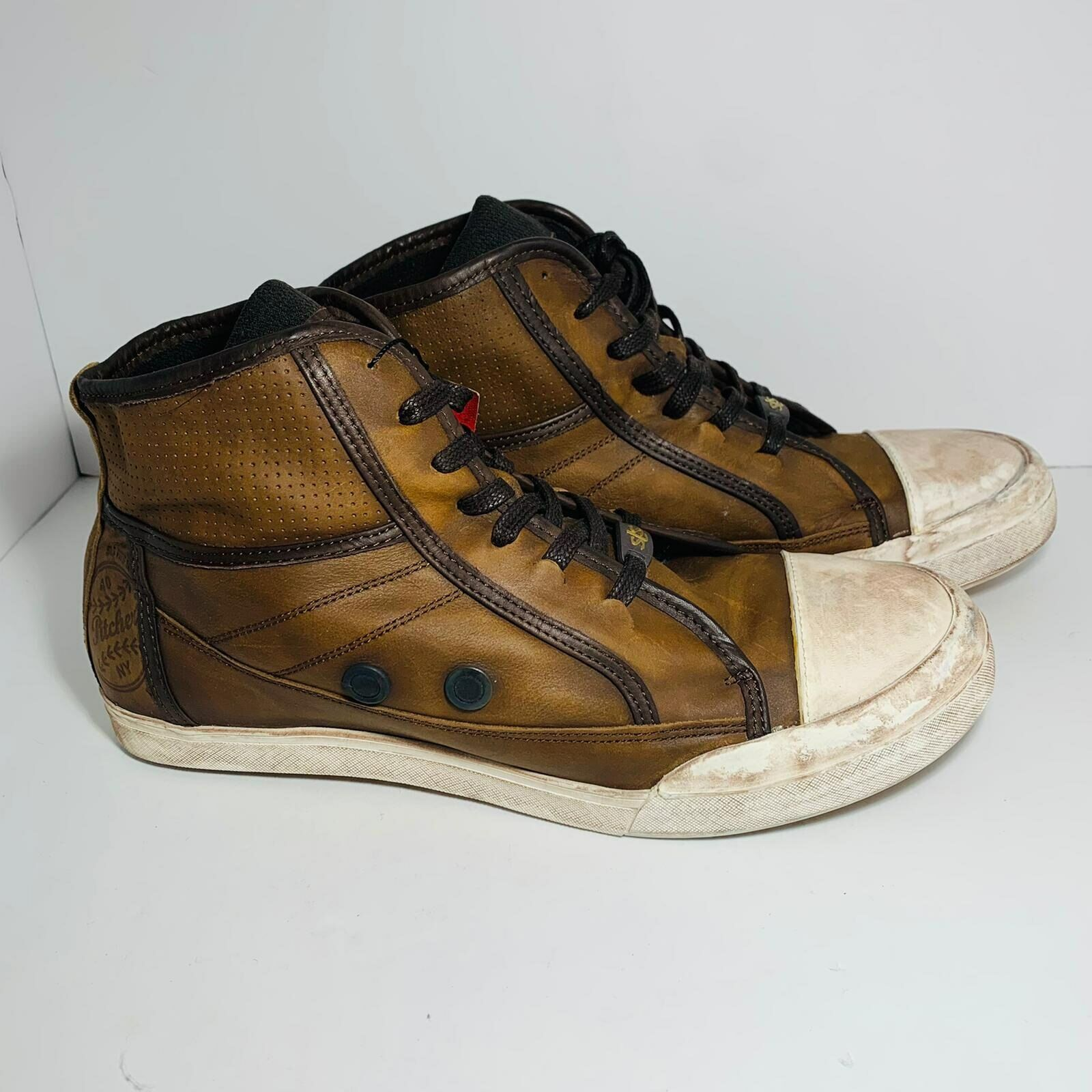 Salsa Fits Life Men Lace Up Round Toe Leather Sneaker Brown Shoes Size US 9 NWB