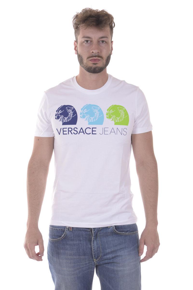 T shirt Maglietta Versace Jeans Sweatshirt SLIM Cotone  Herren Bianco B3GPB730 3