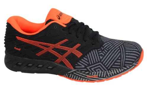 Asics fuzeX Lace Up Black Orange Synthetic Leather Mens Trainers T6K3N 9630 D7