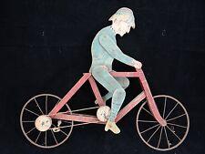 ANCIEN JOUET AUTOMATE CYCLISTE ART POPULAIRE 1930 (B846)