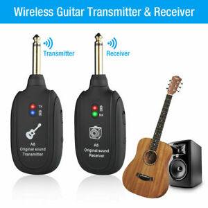 UHF-Guitar-Wireless-System-Transmitter-Receiver-Built-In-Rechargeable-Battery-US