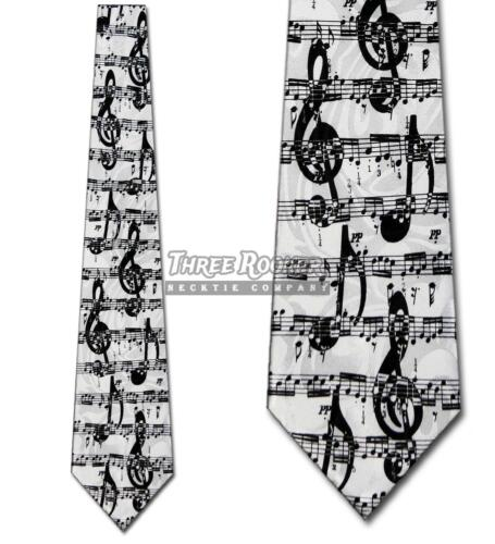 Sheet Music Tie G Clef Neckties Mens Musical Notes Neck Tie Brand New