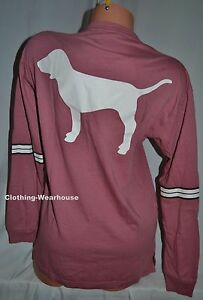 Victoria's Secret PINK Begonia Black White Dog Lace Up Long Sleeve Campus Tee M