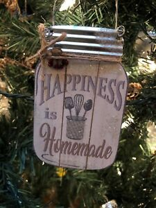 Details About New Kurt Adler 4 5 Country Home Wood Mason Jar Christmas Ornament Happiness
