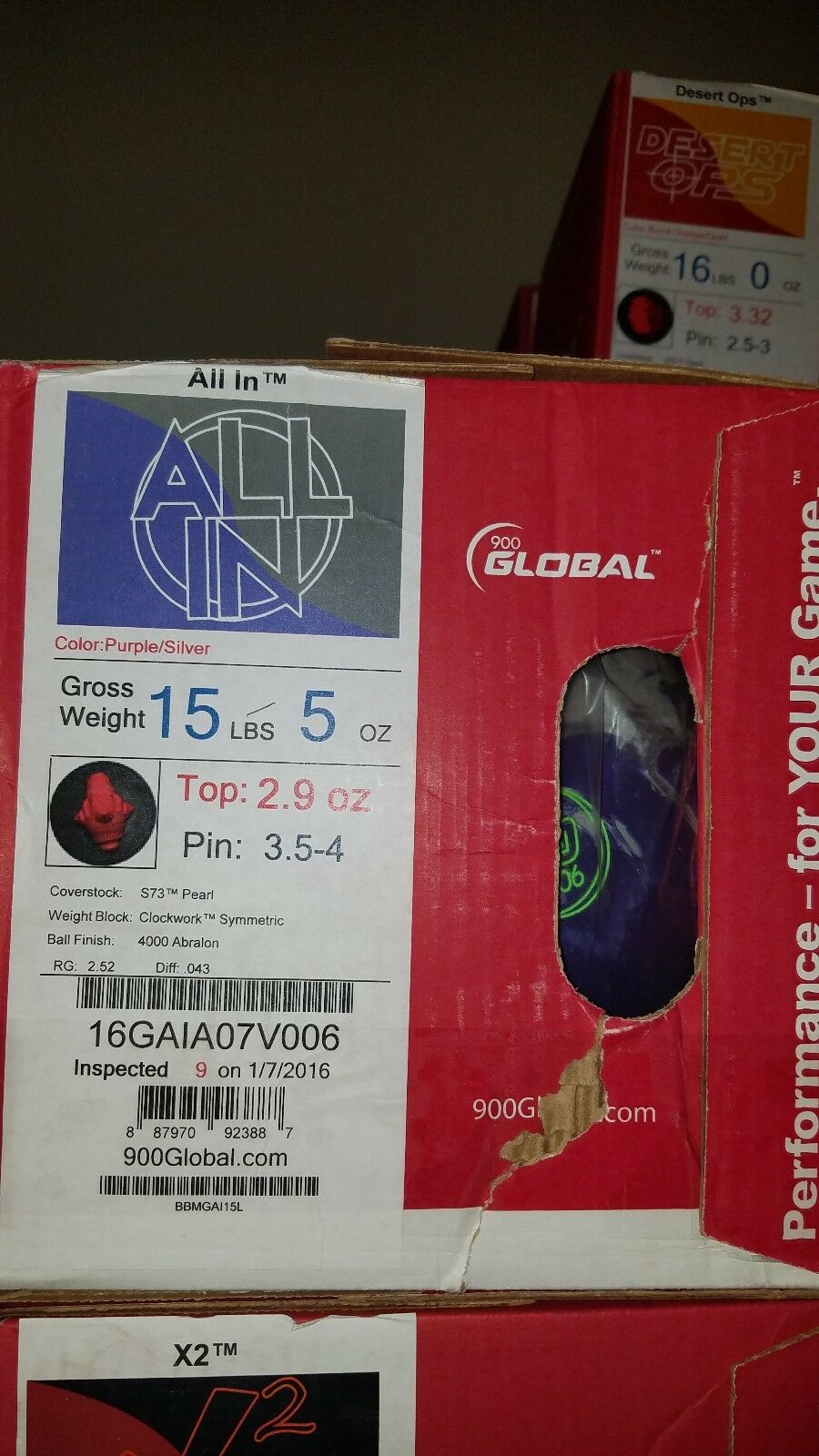 900 Global All In 1st Quality 15 Pound Bowling Ball   3.5 - 4  Pin   2.9oz TW