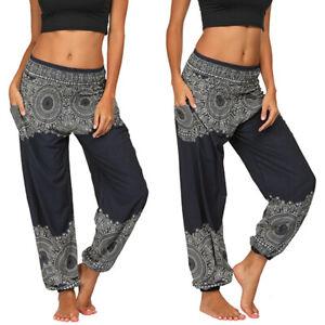 Womens Harem Aladdin Pants Causal Baggy Gypsy Loose Dance Yoga Genie Trousers
