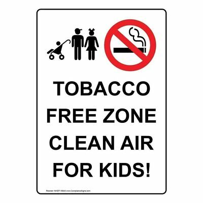 Vertical ANSI Tobacco Free Campus Label with Symbol 5x3.5 in Vinyl 4-Pack