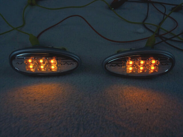 DEPO Clear Amber LED Fender Side Marker Lights For 2002-2003 Mitsubishi Lancer