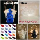 IVORY Satin Flower Girl Basket OR Wedding Ring Pillow  PICK ROSE COLOR